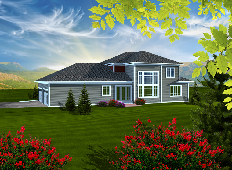 Rear Elevation of Prairie Style   Traditional   House Plan 97376