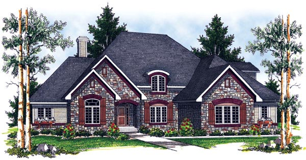 European House Plan 97398 Elevation