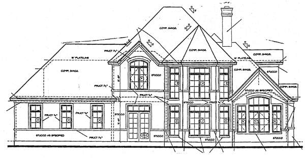 Rear Elevation of Bungalow   European   Tudor   House Plan 97405