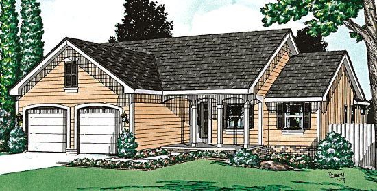 One-Story, Ranch House Plan 97443 with 3 Beds, 2 Baths, 2 Car Garage Elevation