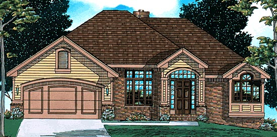 European House Plan 97489 with 3 Beds, 3 Baths, 2 Car Garage Elevation