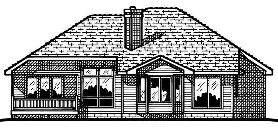European House Plan 97489 with 3 Beds, 3 Baths, 2 Car Garage Rear Elevation