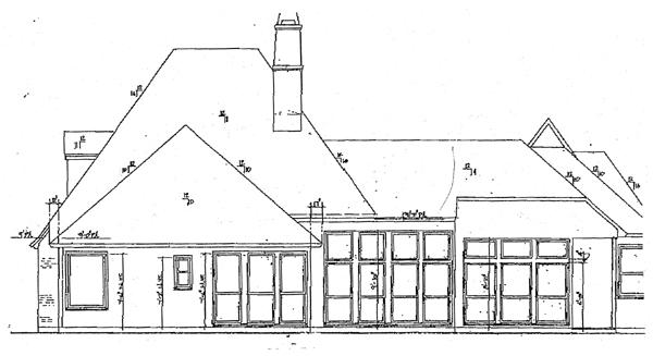 European House Plan 97508 with 4 Beds, 3 Baths, 2 Car Garage Rear Elevation