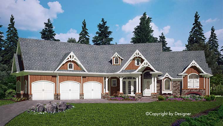 Cottage Country Craftsman Southern House Plan 97604 Elevation