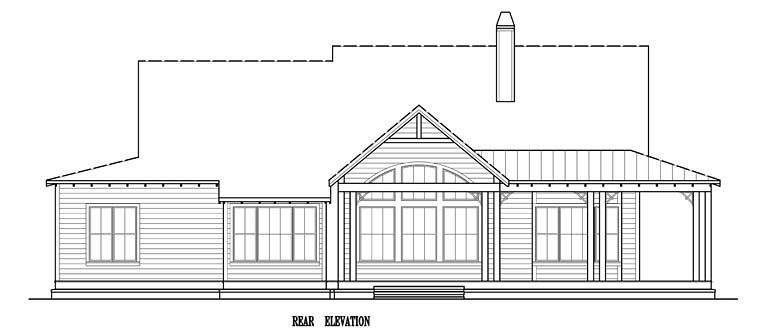 Country Southern Traditional House Plan 97606 Rear Elevation