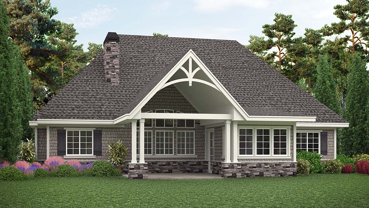 Country, Craftsman, Ranch House Plan 97639 with 3 Beds, 3 Baths, 2 Car Garage Rear Elevation
