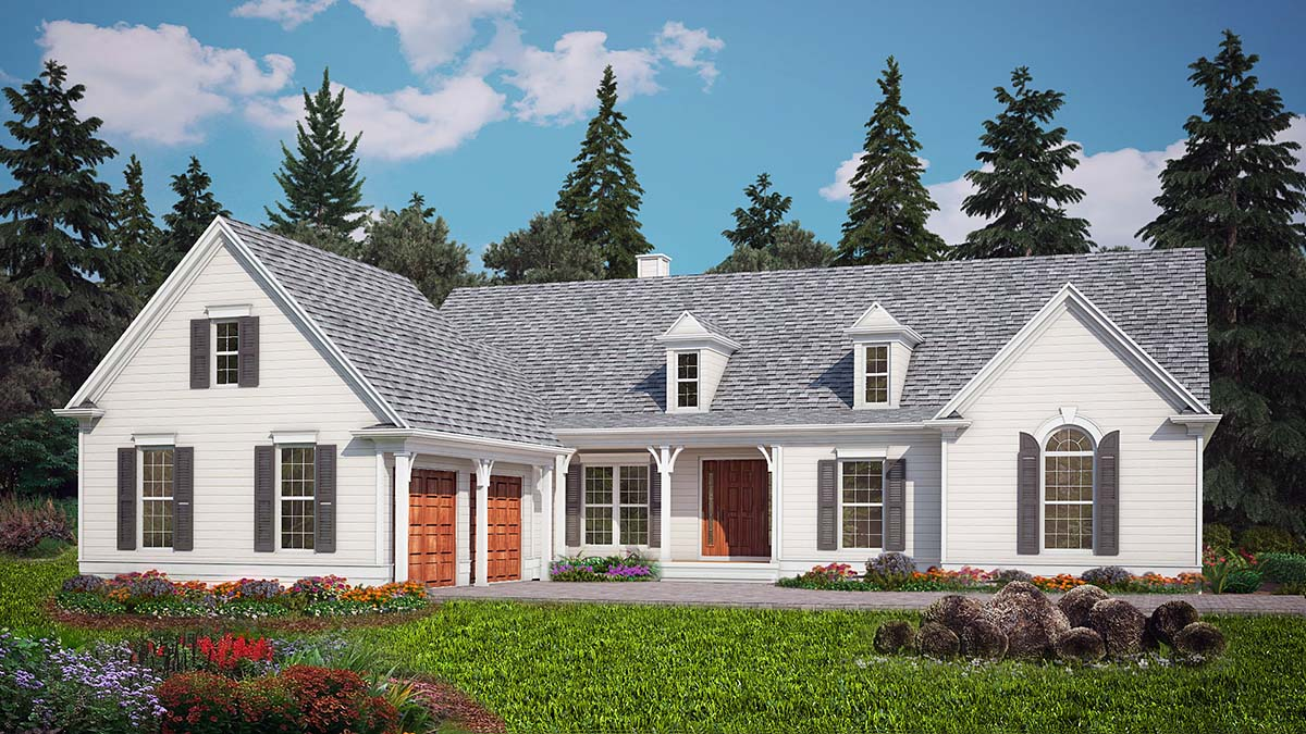 Country, Ranch, Traditional House Plan 97678 with 3 Beds, 3 Baths, 2 Car Garage Elevation