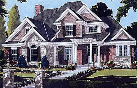 Bungalow, European House Plan 97722 with 4 Beds, 4 Baths, 2 Car Garage Elevation