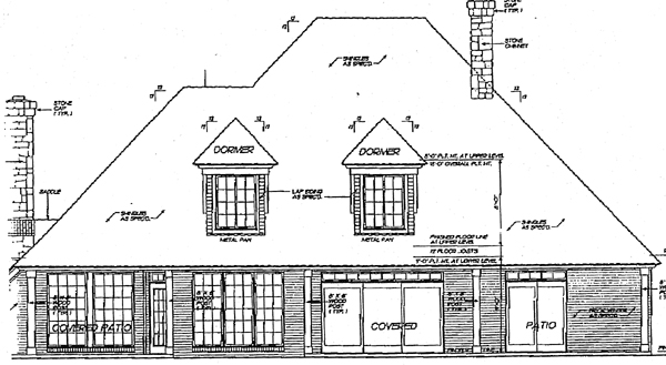 Rear Elevation of European   Tudor   House Plan 97801