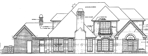 Bungalow Colonial European House Plan 97816 Rear Elevation