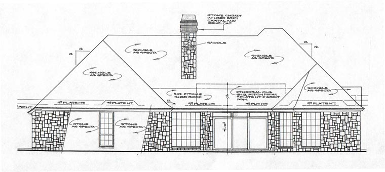 Rear Elevation of European   House Plan 97849