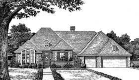 European House Plan 97849 with 4 Beds, 4 Baths, 3 Car Garage Elevation