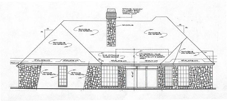 European House Plan 97849 with 4 Beds, 4 Baths, 3 Car Garage Rear Elevation