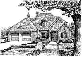 Bungalow, European House Plan 97863 with 4 Beds, 3 Baths, 2 Car Garage Elevation