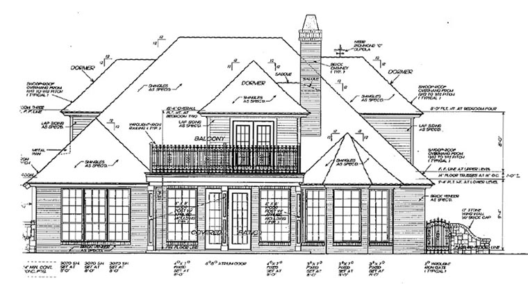 Bungalow, European House Plan 97863 with 4 Beds, 3 Baths, 2 Car Garage Rear Elevation