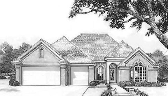 European House Plan 97878 with 4 Beds, 2 Baths, 3 Car Garage Elevation