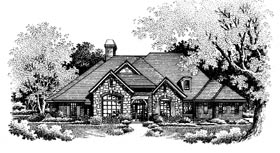 Bungalow, European House Plan 97880 with 4 Beds, 4 Baths, 3 Car Garage Elevation