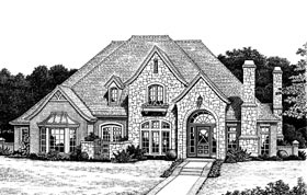 European, Tudor House Plan 97884 with 4 Beds, 4 Baths, 3 Car Garage Elevation
