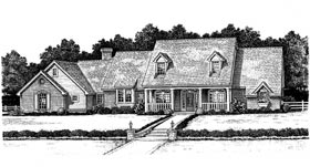 Cape Cod, Country, French Country House Plan 97889 with 4 Beds, 4 Baths, 3 Car Garage Elevation