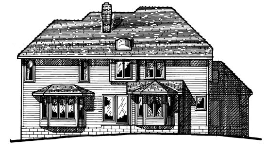 European House Plan 97915 Rear Elevation