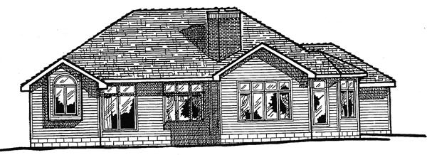 European House Plan 97921 Rear Elevation