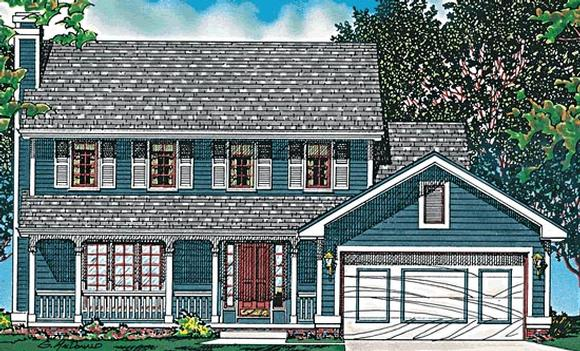 Colonial, Country House Plan 97923 with 3 Beds, 3 Baths, 2 Car Garage Elevation