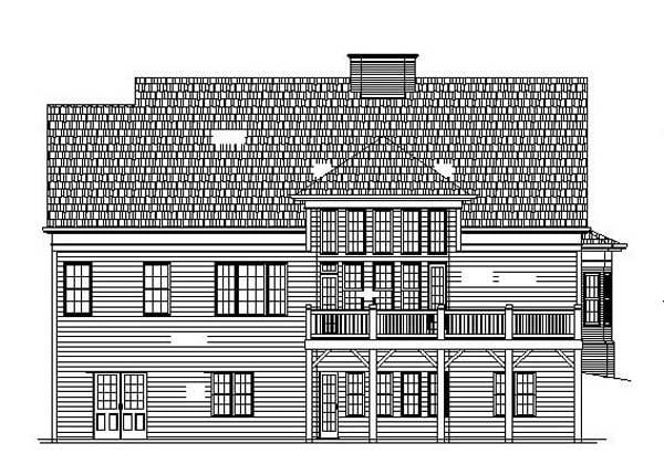 Colonial European House Plan 98203 Rear Elevation