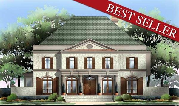 Colonial European Greek Revival House Plan 98206 Elevation