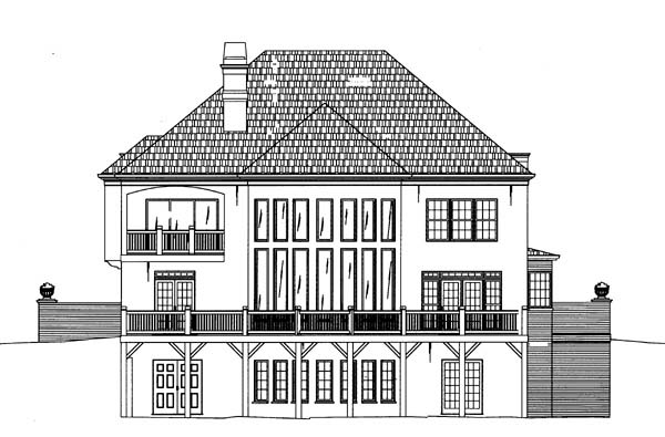 Colonial European Greek Revival House Plan 98206 Rear Elevation