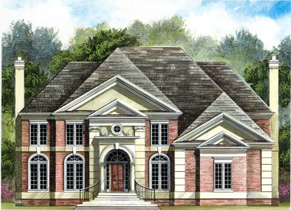 Colonial, European House Plan 98208 with 4 Beds, 4 Baths, 3 Car Garage Elevation