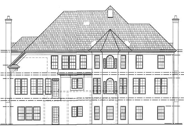 Colonial, European House Plan 98208 with 4 Beds, 4 Baths, 3 Car Garage Rear Elevation