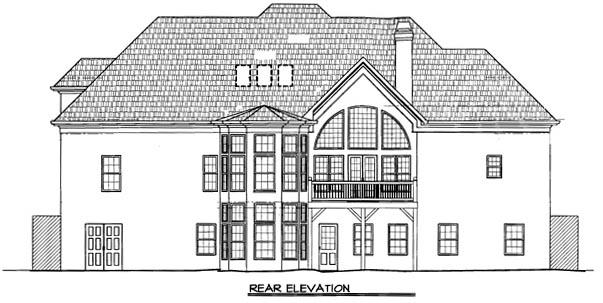 European House Plan 98209 with 4 Beds, 4 Baths, 2 Car Garage Rear Elevation