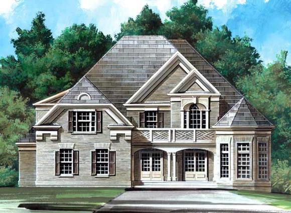 European, Greek Revival, Victorian House Plan 98249 with 5 Beds, 4 Baths, 2 Car Garage Elevation