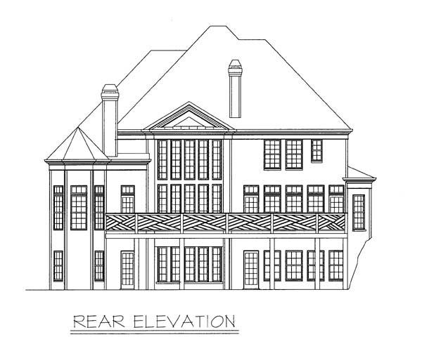 European, Greek Revival, Victorian House Plan 98249 with 5 Beds, 4 Baths, 2 Car Garage Rear Elevation