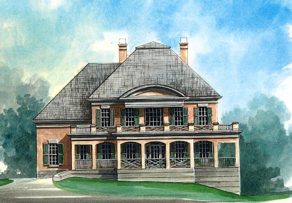 Colonial European Greek Revival House Plan 98251 Elevation