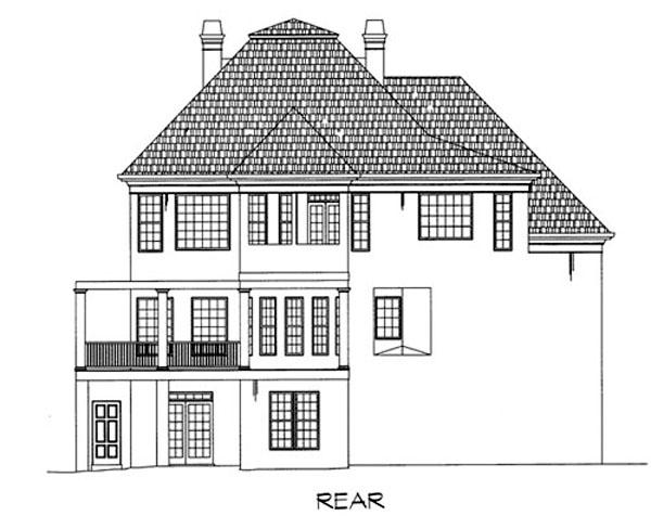 Colonial European Greek Revival House Plan 98251 Rear Elevation
