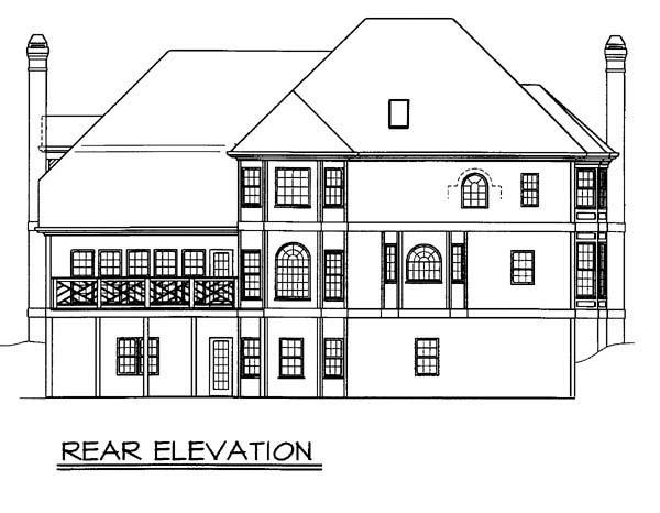 European Greek Revival House Plan 98266 Rear Elevation