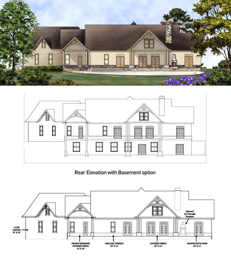 Country Craftsman Traditional Tudor Rear Elevation of Plan 98267