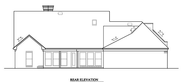 Rear Elevation of Prairie Style   Southwest   House Plan 98366