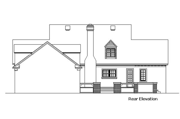 Cape Cod Colonial Country Southern Rear Elevation of Plan 98369
