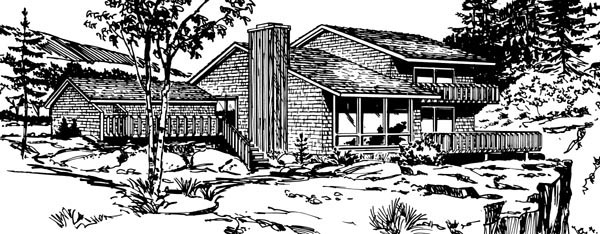 Contemporary House Plan 98391 Rear Elevation