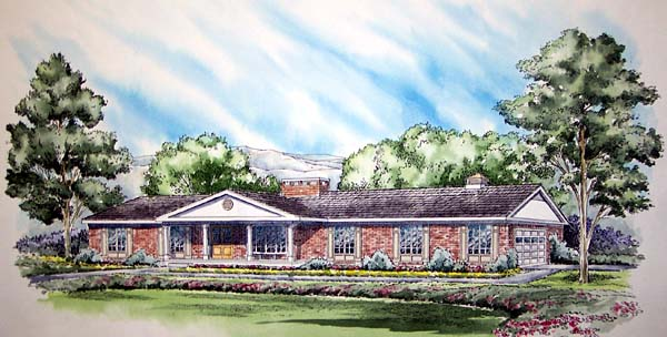 Colonial Ranch Retro Traditional House Plan 9850 Elevation