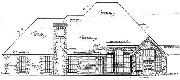 European House Plan 98528 Rear Elevation