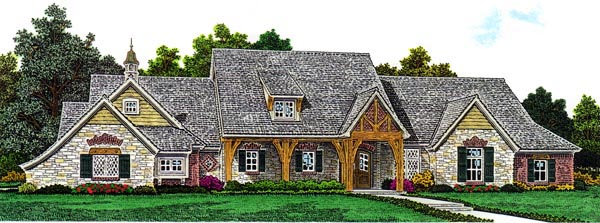 Elevation of Traditional   House Plan 98574
