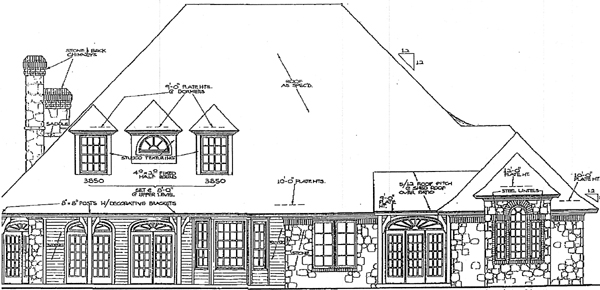 European French Country Tudor House Plan 98586 Rear Elevation