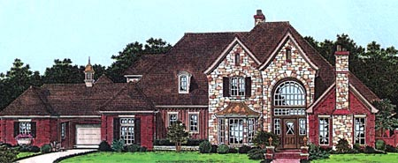 European, French Country, Tudor House Plan 98587 with 5 Beds, 7 Baths, 3 Car Garage Elevation