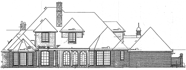 European, French Country, Tudor House Plan 98587 with 5 Beds, 7 Baths, 3 Car Garage Rear Elevation