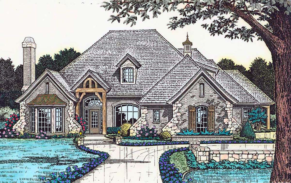 European, French Country House Plan 98588 with 4 Beds, 4 Baths, 3 Car Garage Elevation