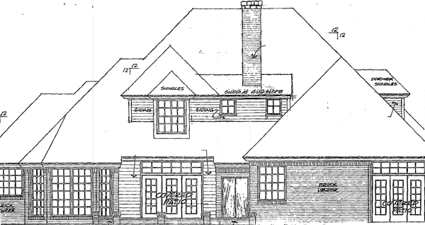 European, French Country House Plan 98588 with 4 Beds, 4 Baths, 3 Car Garage Rear Elevation