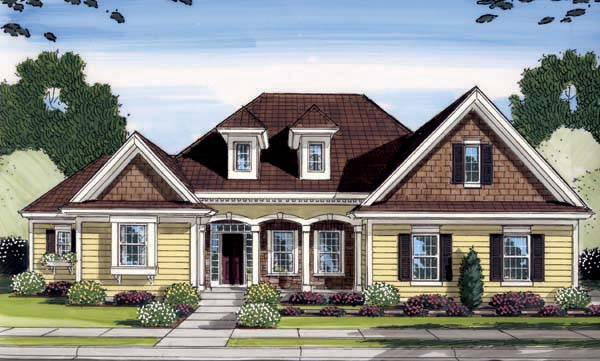 Craftsman House Plan 98600 with 4 Beds, 3 Baths, 2 Car Garage Elevation